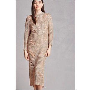 NWT Women's Rose Gold Metallic Ladder-cutout Dress